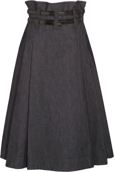 Bottega Veneta Bottega Veneta - Leather-trimmed Pleated Denim Midi Skirt - Dark denim