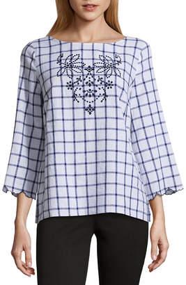 Liz Claiborne 3/4 Sleeve Scalloped Hem Shirt