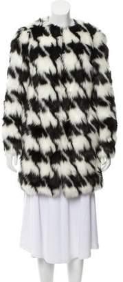 MICHAEL Michael Kors Faux-Fur Houndstooth Coat