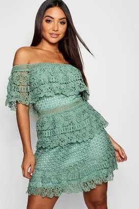 boohoo Tiered Crochet Off the Shoulder Skater Dress