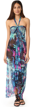 Fuzzi Floral Print Halter Long Dress $260 thestylecure.com