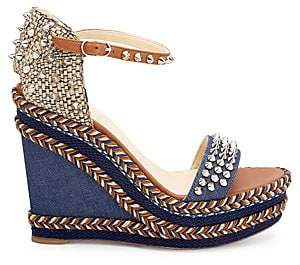 Christian Louboutin Women's Madmonica Platform Leather & Denim Wedge Sandals