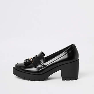 River Island Black chunky tassel block heel loafers