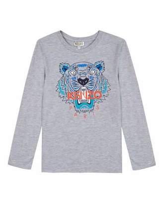 Kenzo Long-Sleeve Tiger Icon Tee, Size 8-12