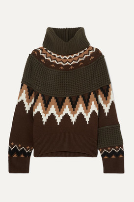 Sacai Fair Isle And Waffle-knit Wool-blend Turtleneck Sweater - Brown