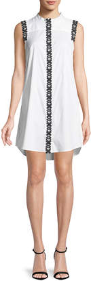 Milly Foral-Applique Sleeveless Shirt Dress