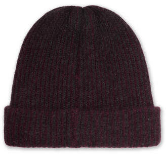 The Elder Statesman Watchman Striped Ribbed Cashmere Beanie