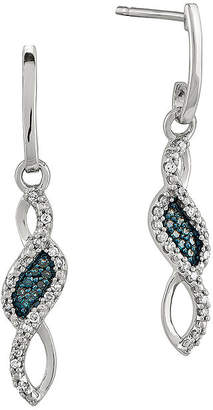 FINE JEWELRY 1/8 CT. T.W. White and Color-Enhanced Blue Diamond Sterling Silver Drop Earrings