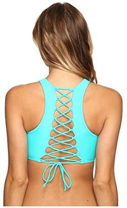 Body Glove Junior's Smoothies Leelo High Neck Cropped Bikini Top with Lace Up Back,S