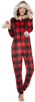 Buffalo David Bitton Peace Love & Fashion Juniors' Peace, Love & Fashion Hooded Faux-Fur Check One-Piece Pajamas