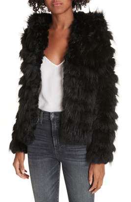 Alice + Olivia Nadia Genuine Rabbit & Fox Fur Jacket