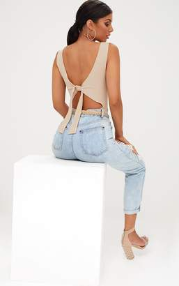 PrettyLittleThing Nude Bow Open Back Thong Bodysuit