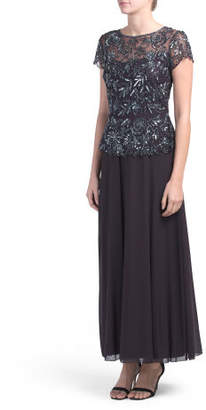 Chiffon Floral Beaded Gown