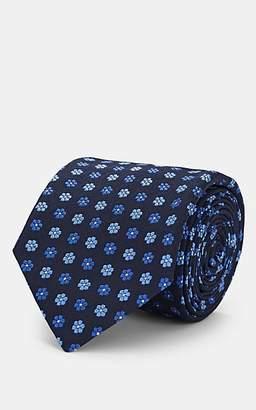Barneys New York Men's Floral-Print Silk Necktie - Blue