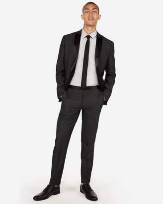 Express Slim Charcoal Dobby Wool-Blend Tuxedo Pant