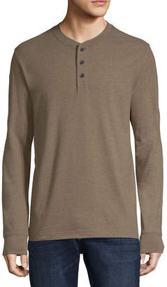 ST. JOHN'S BAY Mens Henley Neck Long Sleeve Henley Shirt
