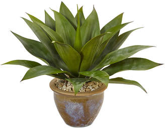 Nearly Natural Agave Artificial Plant in Glazed Clay Pot