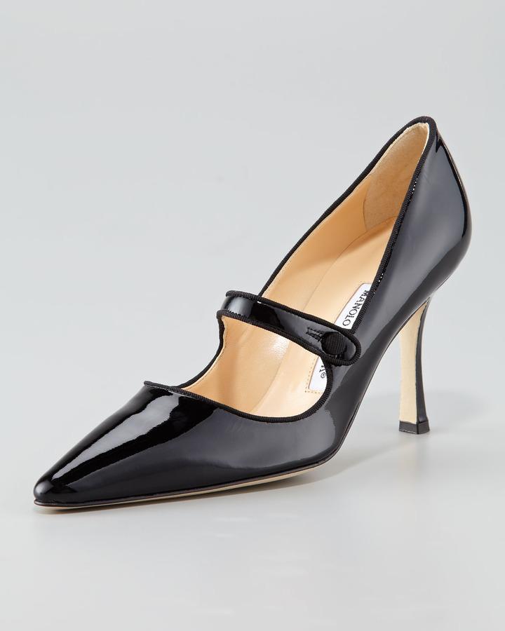 Manolo Blahnik Campari Patent Leather Mary Jane