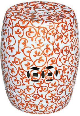 One Kings Lane Twisted Lotus Garden Stool - Orange/White