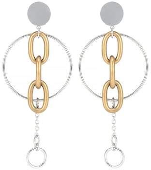 Miu Clip On Drop Hoop Earrings