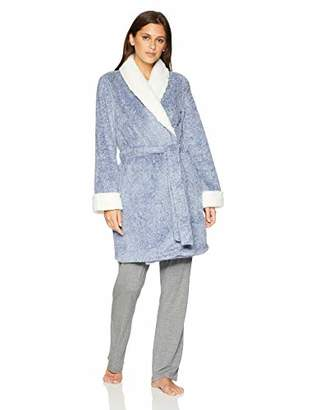Mae Women's Tweeded Shaggy Plush Wrap Robe with Sherpa