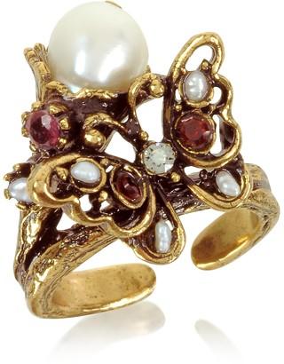 Alcozer & J Butterfly Brass Ring w/Glass Pearl
