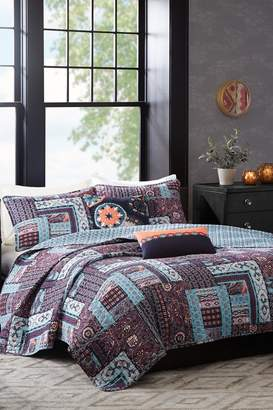 Josie Woodblock Patchwork Reversible Quilt 5 Pc Set