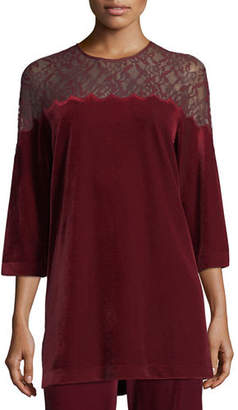 Joan Vass Velvet Tunic w/ Lace Yoke, Plus Size