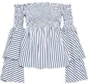 Caroline Constas Appolonia Off-The-Shoulder Striped Cotton-Poplin Top
