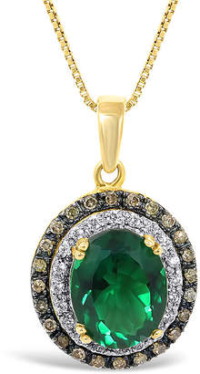 JCPenney FINE JEWELRY Lab-Created Emerald and Diamond Oval Pendant Necklace