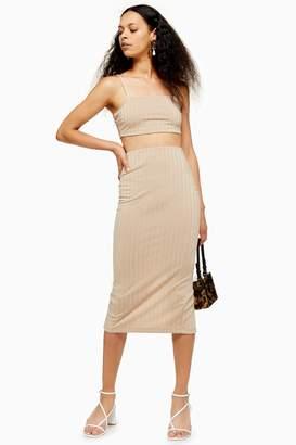 Topshop Womens Petite Stone Ribbed Skirt - Stone