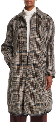 Balenciaga Single-Breasted Prince of Wales Check Wool-Blend Coat