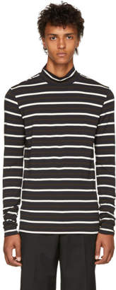 3.1 Phillip Lim Brown Multi Striped Fitted Turtleneck
