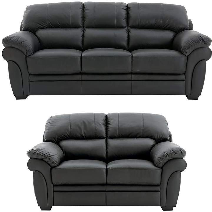 Portland 3 Seater + 2 Seater Leather Sofa