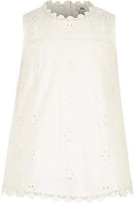 River Island Girls White broderie round neck swing top