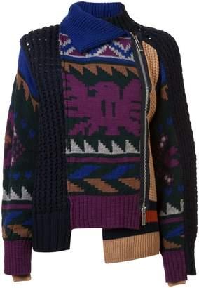 Sacai patchwork zip front sweater