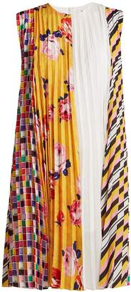 MSGM Printed pleated crepe dress