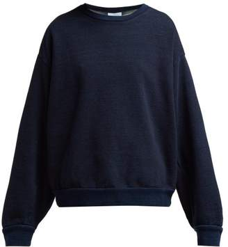 Raey Balloon Sleeved Denim Jersey Sweatshirt - Womens - Indigo