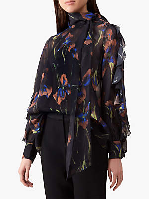 Hobbs Elena Silk Blouse, Black Multi