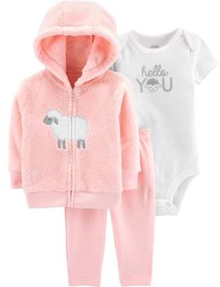 Carter's Child of Mine by Hooded Cardigan, Short Sleeve Bodysuit & Pants, 3-Piece Outfit Set (Baby Girls)