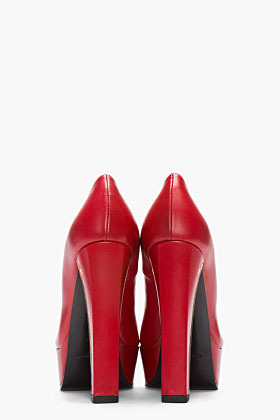 Saint Laurent Red & gold Ziggy Platform heels
