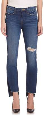 Peserico Women's Le High Distressed Straight Step Hem Jeans