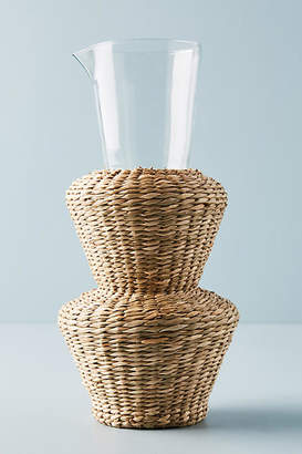 Anthropologie Seagrass-Wrapped Tiered Carafe