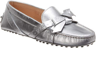 Tod's Gommini Bow Metallic Leather Moccasin