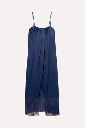 Rachel Zoe Brighton Fringed Draped Satin Midi Dress - Blue