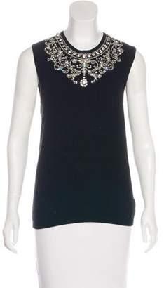 Oscar de la Renta Vintage Embellished Cashmere Top