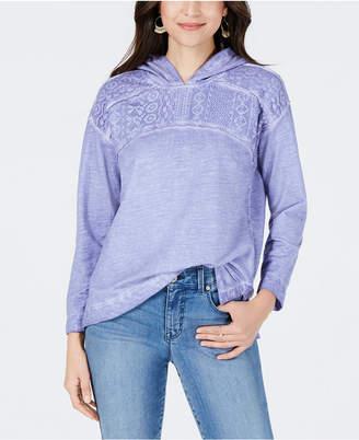 Style&Co. Style & Co Petite Lace-Yoke Hoodie Top