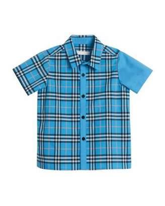 Burberry Sammi Emblem Check Short-Sleeve Shirt, Size 4-14