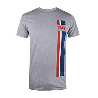 TVR Sports Cars Men's Logo Stripes T-Shirt, (Grey Marl SPO), X (Size:)