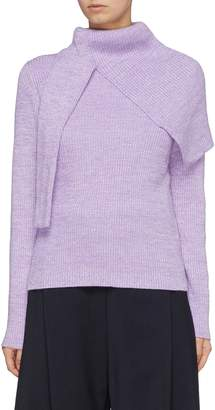 FFIXXED STUDIOS Scarf panel wool rib knit turtleneck sweater
